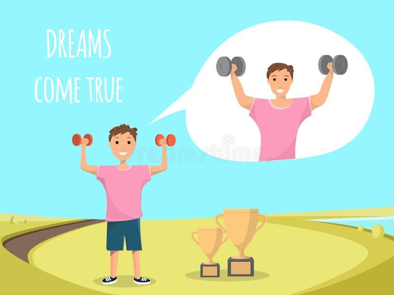 Szczęśliwego dziecka Trwanie Stażowy Bodybuilding Plenerowy ilustracja wektor