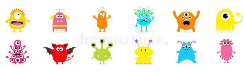 szczęśliwego halloween Śliczny potwór ikony set Kreskówka kolorowy straszny śmieszny charakter Oczy, jęzor, wręczają up Śmieszna  royalty ilustracja