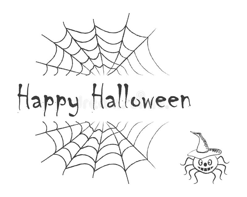 szczęśliwego halloween Czarny tekst na tle pajęczyny ilustracja wektor