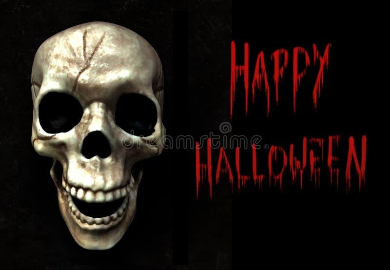 Szczęśliwego Halloween i czaszka na czarnym tle teksturowanym fotografia stock