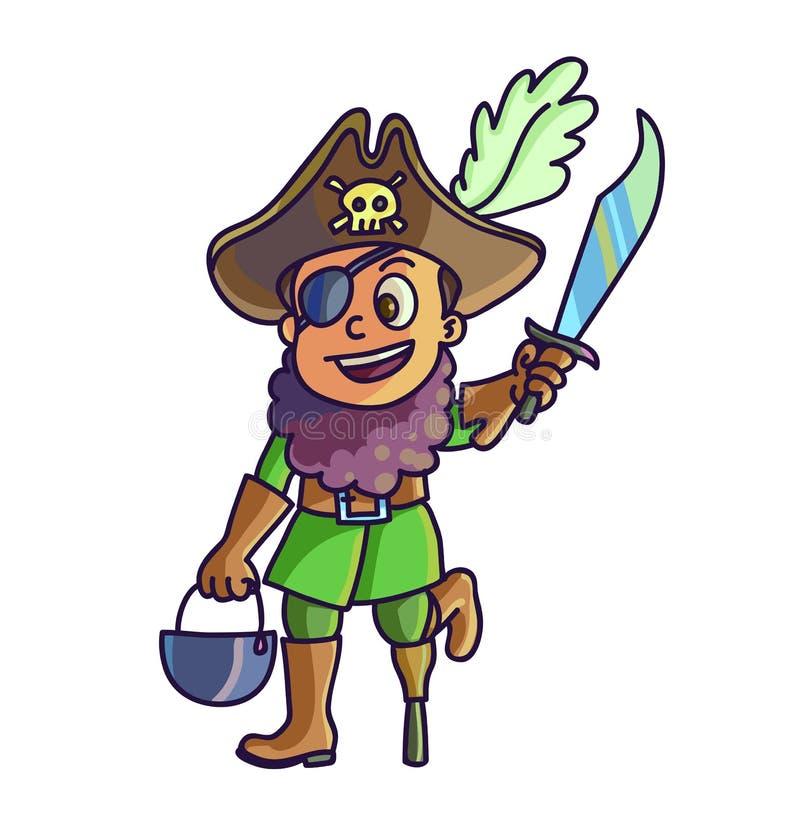 szczęśliwego halloween Kreskówki śliczny dziecko w kostiumowym piracie ilustracji