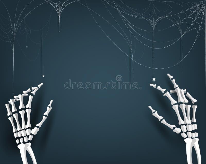 Szczęśliwego Halloween przyjęcia ilustracyjny tło, zaproszenie karta dla wakacji z ręki kości pajęczyną i pająk kreskówki sztuka, ilustracja wektor