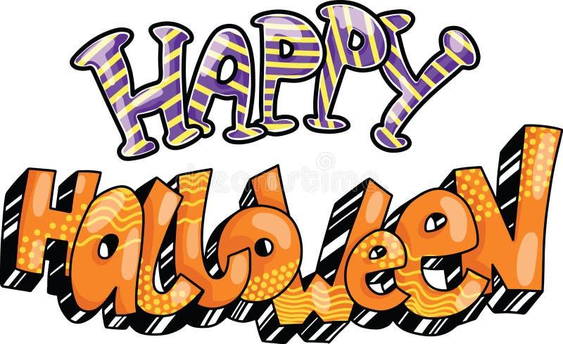 szczęśliwego halloween Ręka rysujący kreatywnie kolorowy doodle literowanie również zwrócić corel ilustracji wektora ilustracji