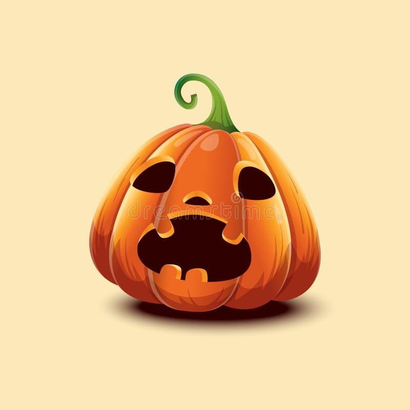 szczęśliwego halloween Realistyczna Halloweenowa bania Okaleczająca twarzy Halloweenowa bania odizolowywająca na lekkim tle ilustracja wektor