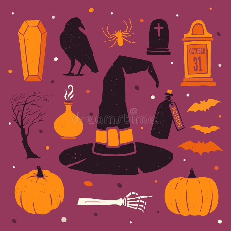 szczęśliwego halloween Wektor barwione sylwetki: bania, czarownica kapelusz, nietoperze, kości i inni tradycyjni elementy Hallowe ilustracja wektor