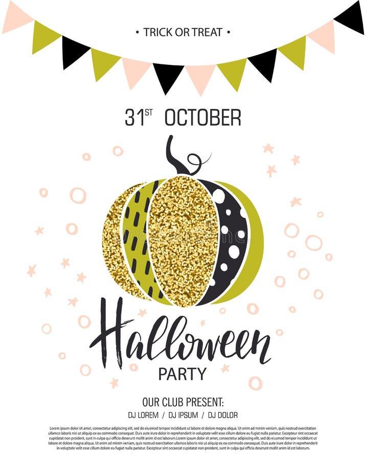szczęśliwego halloween Zaproszenie bawić się z śliczną wspaniałą iskrzastą banią również zwrócić corel ilustracji wektora Projekt royalty ilustracja