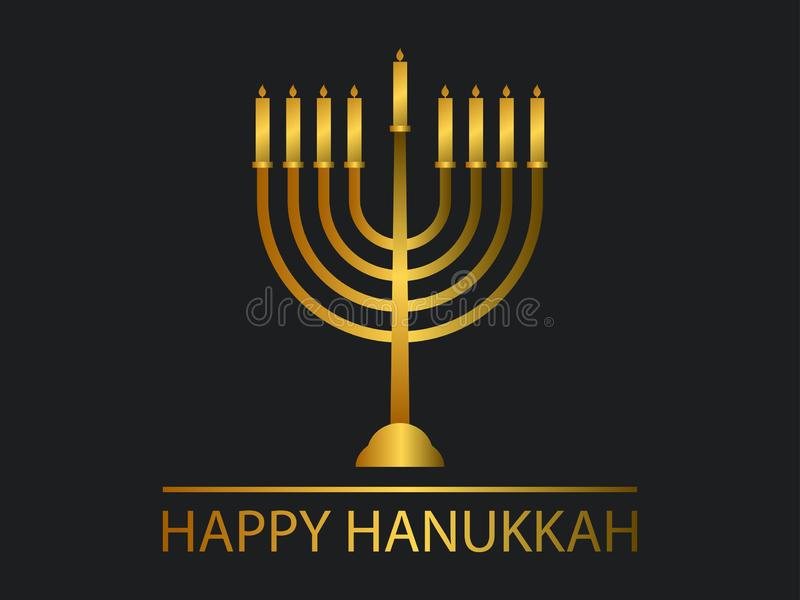 szczęśliwego hanukkah Menorah z dziewięć świeczkami Złocisty gradient wektor ilustracja wektor