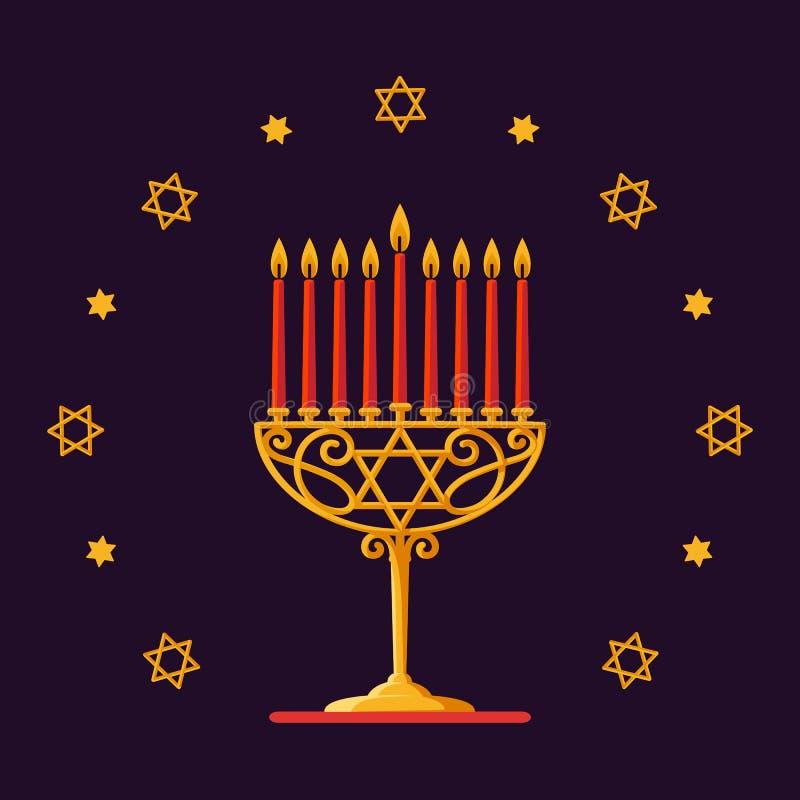 szczęśliwego hanukkah Złocisty menorah z czerwonymi świeczkami i gwiazdami na ciemnym tle dla twój kartka z pozdrowieniami projek