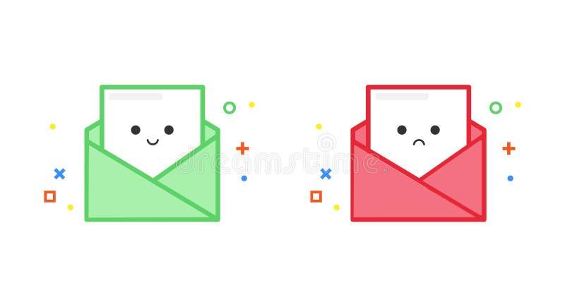 Szczęśliwego i smutnego emaila wektorowa ilustracja dla sukcesu i niepowodzenia błyskowej wiadomości, Śliczny kreskówka układ ilustracji