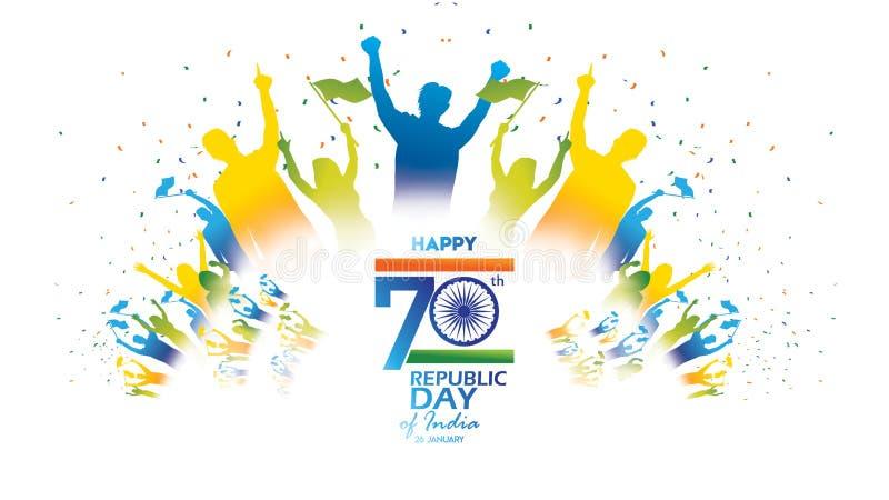 Szczęśliwego Indiańskiego republika dnia Wektorowa ilustracja, tło dla lub ilustracji