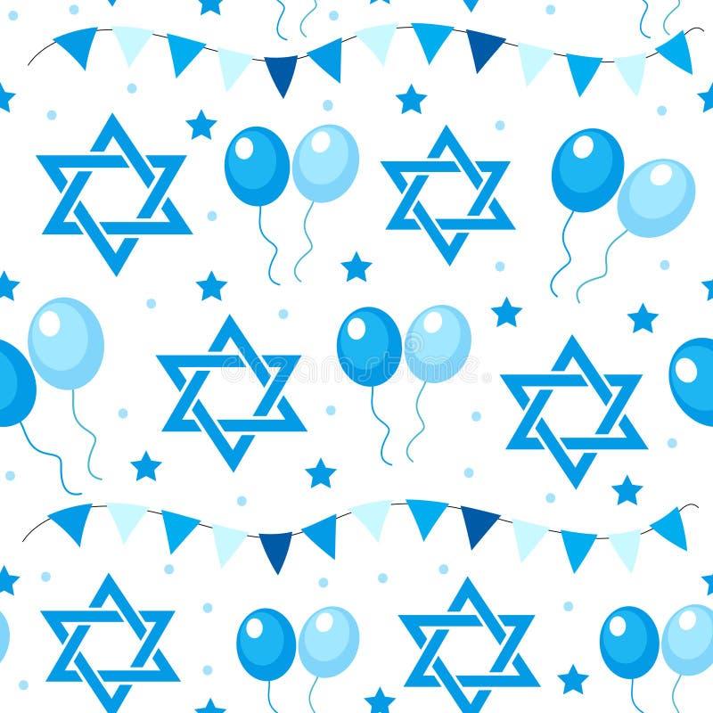 Szczęśliwego Izrael dnia niepodległości bezszwowy wzór z flaga i chorągiewką Żydowskich wakacji niekończący się tło, tekstura ilustracja wektor