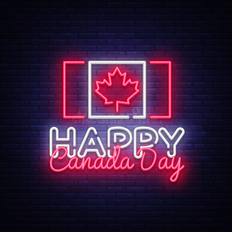 Szczęśliwego Kanada dnia kartka z pozdrowieniami projekta szablonu trendu nowożytny styl Kanadyjskiego dnia Neonowy znak, lekki s royalty ilustracja