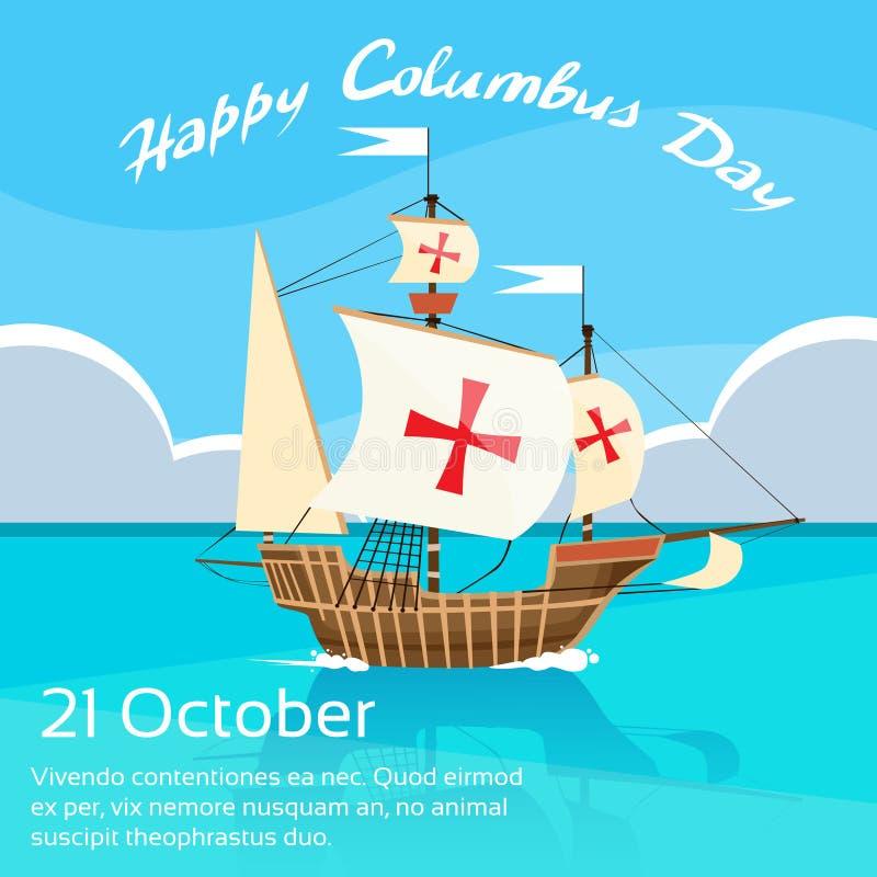 Szczęśliwego Kolumb dnia statku oceanu Wakacyjna błękitne wody royalty ilustracja