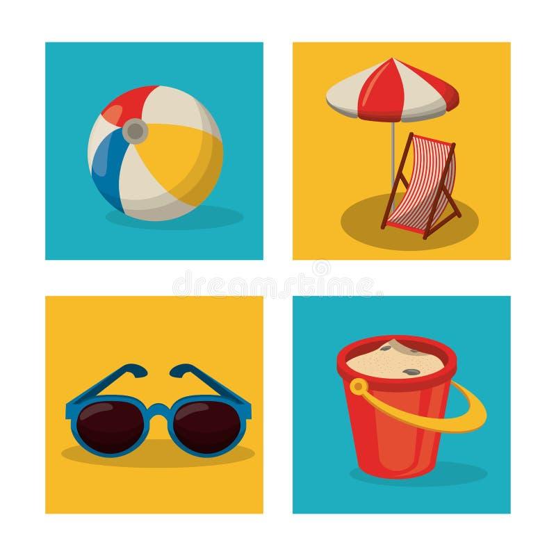 Szczęśliwego lata podróżny szablon z plażowymi lat akcesoriami ilustracja wektor