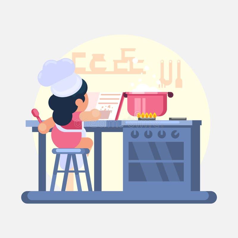Szczęśliwego małego śmiesznego dziewczyny Cook szefa kuchni pomaga gotować w kuchni studiuje książki kucharska Wektorową kolorową ilustracji
