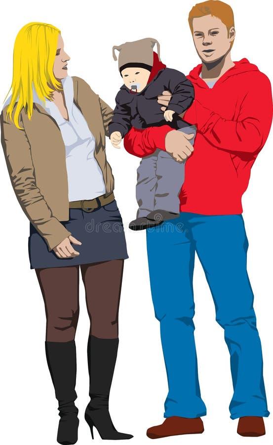 szczęśliwego nowego rodziny ilustracji