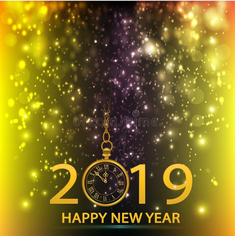 Szczęśliwego nowego roku ładowania iskrowego fajerwerku 2019 złocisty wektorowy logo royalty ilustracja