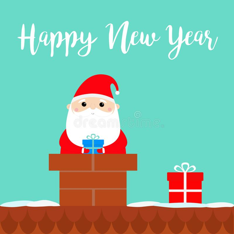 szczęśliwego nowego roku, Święty Mikołaj na dachowym kominie Czerwony kapelusz, kostium, broda, pasowa klamra, torba, prezenta pu ilustracji