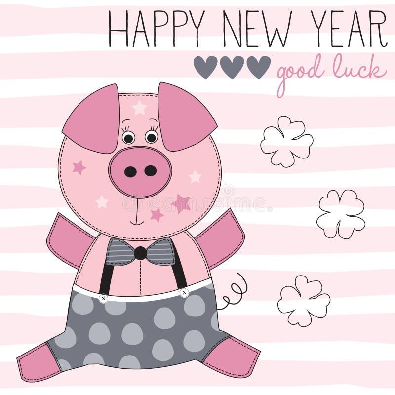 Szczęśliwego nowego roku świniowata wektorowa ilustracja ilustracja wektor