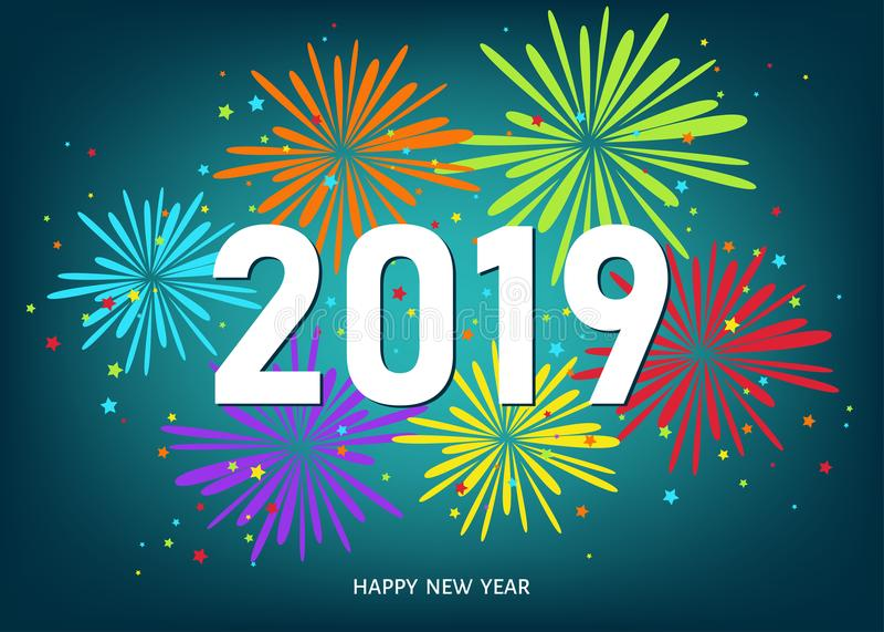 2019 Szczęśliwego nowego roku błękitnych tło z kolorowymi fajerwerkami ilustracji