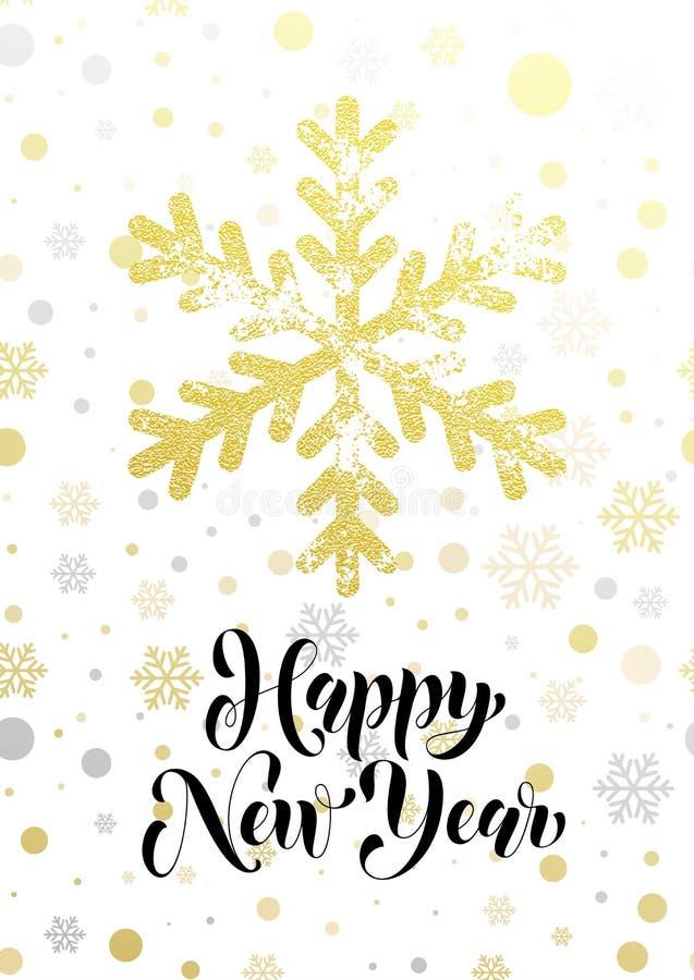 Szczęśliwego nowego roku błyskotliwości płatka śniegu kartka z pozdrowieniami teksta złocisty literowanie ilustracji