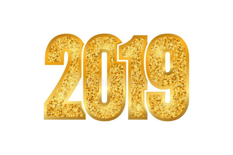 Szczęśliwego nowego roku błyszczący złoto liczba 2019 Złote błyskotliwość cyfry, odosobniony biały tło Błyszczący rozjarzony proj ilustracja wektor