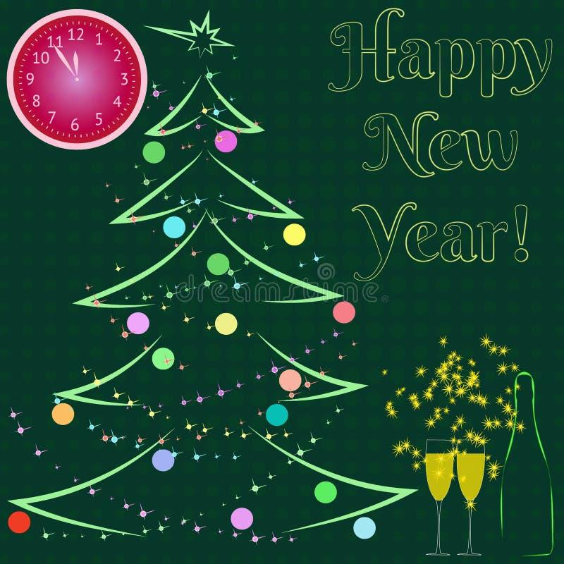 szczęśliwego nowego roku, Butelka i wineglasses szampan z zegarem który pokazuje przy pięć minutami dwanaście wektor ilustracji