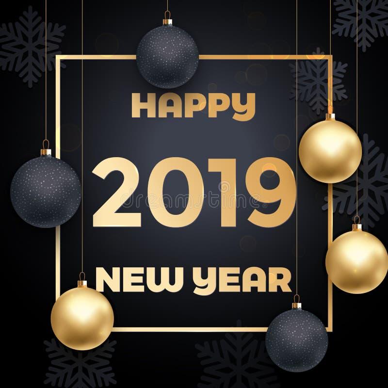 2019 Szczęśliwego nowego roku dekoraci wektoru złotych kart ilustracji