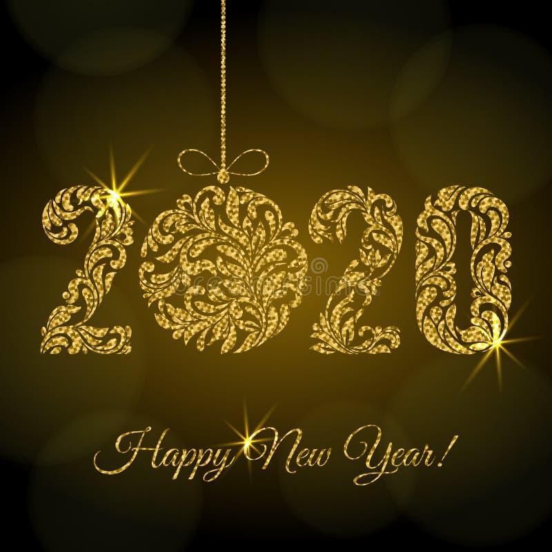 Szczęśliwego Nowego Roku 2020 figurki i kula świąteczna z ozdobą kwiatową ze złotym błyskiem i iskry na ciemnym tle ilustracji