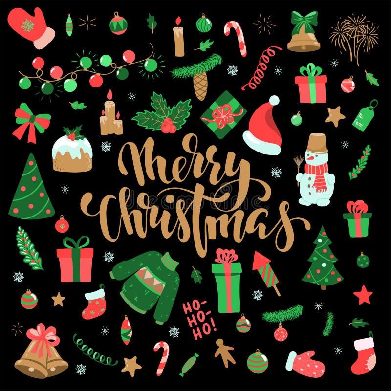 Szczęśliwego nowego roku i Wesoło bożych narodzeń doodle set Kolekcja xmas elementy dla projekt wakacyjnych kartek z pozdrowienia ilustracji
