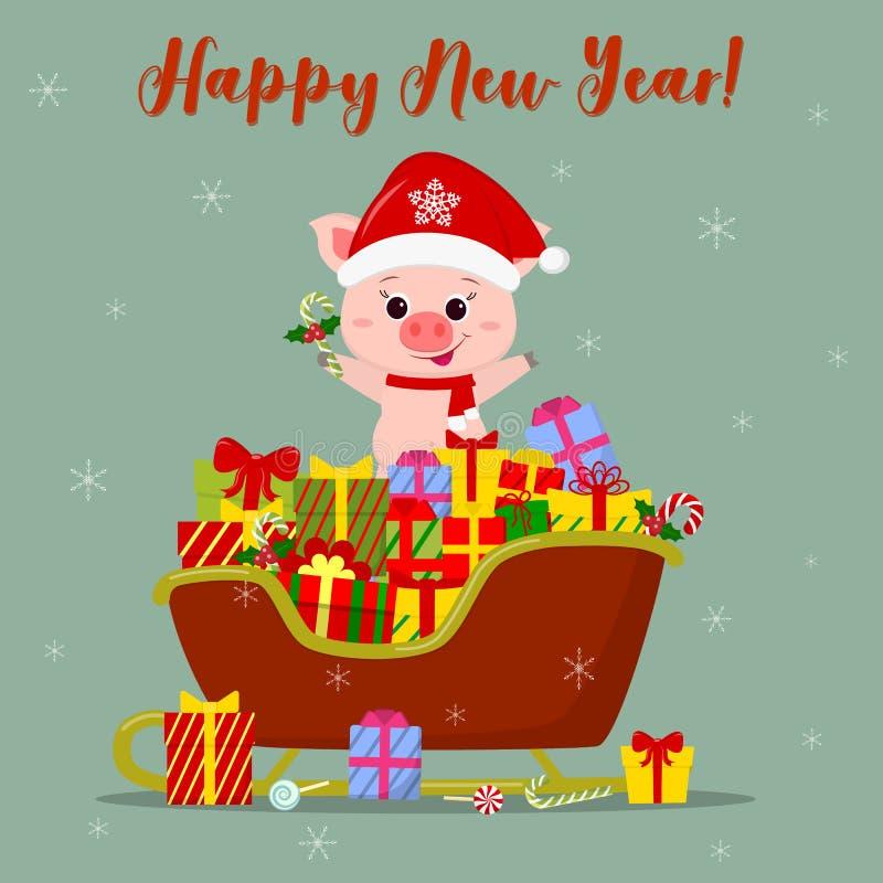 Szczęśliwego nowego roku i Wesoło bożych narodzeń kartka z pozdrowieniami Śliczna świnia w Santa kapeluszu stoi na Santa s saniu  ilustracji