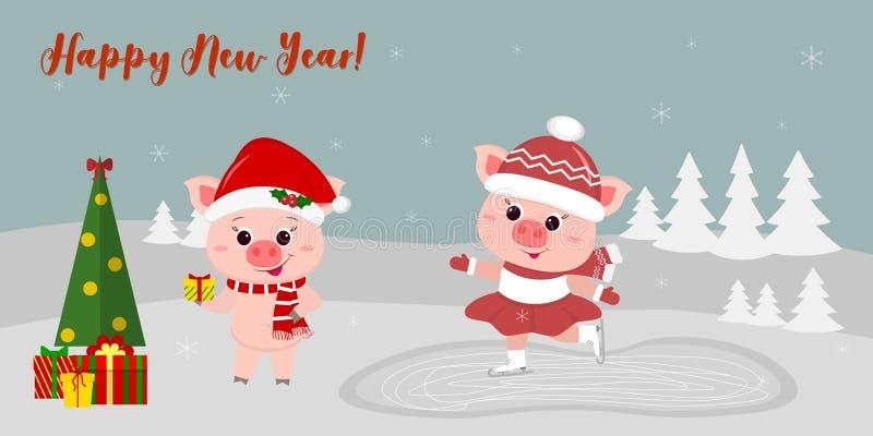 Szczęśliwego nowego roku i Wesoło bożych narodzeń kartka z pozdrowieniami śliczne świnie dwa Jeden iść lodowisko inny w kapeluszu royalty ilustracja