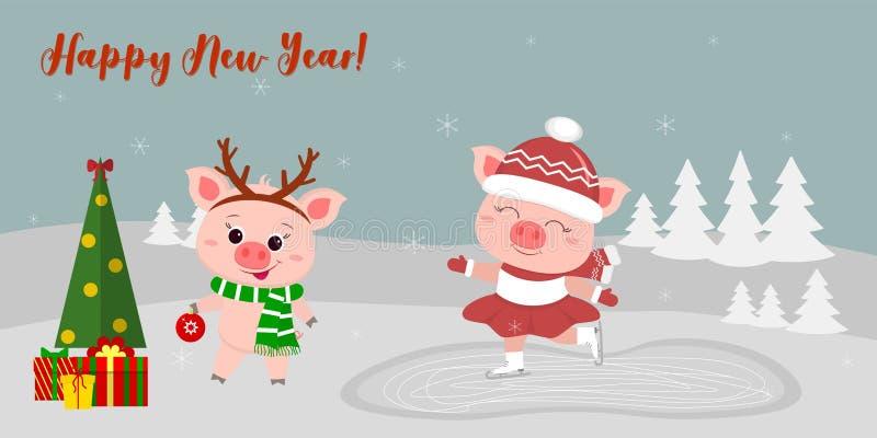 Szczęśliwego nowego roku i Wesoło bożych narodzeń kartka z pozdrowieniami śliczne świnie dwa Jeden iść lodowisko inny w rogach ro royalty ilustracja