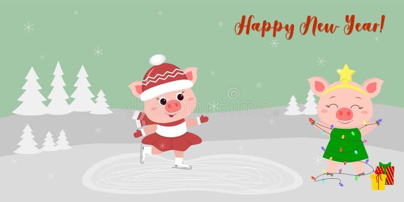 Szczęśliwego nowego roku i Wesoło bożych narodzeń kartka z pozdrowieniami śliczne świnie dwa Jeden iść lodowisko inny w choince ilustracji