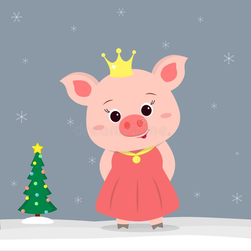 Szczęśliwego nowego roku i Wesoło bożych narodzeń kartka z pozdrowieniami Śliczne małe świnie w Princess kostiumu Choinka w zimie ilustracja wektor