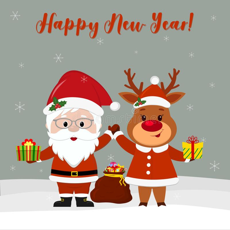 Szczęśliwego nowego roku i Wesoło bożych narodzeń kartka z pozdrowieniami Śliczny Święty Mikołaj w szkłach i ślicznym rogaczu w S ilustracja wektor