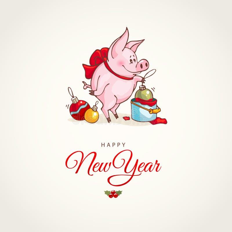 Szczęśliwego nowego roku i Wesoło bożych narodzeń kartka z pozdrowieniami dekoracje świąteczne ekologicznego drewna Wektorowa świ royalty ilustracja