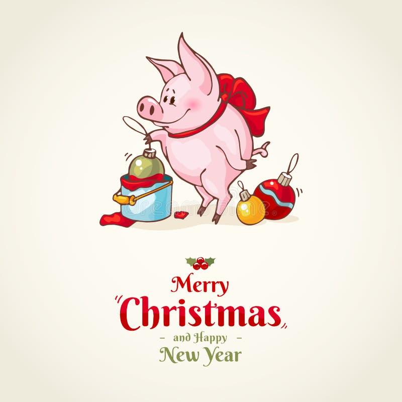 Szczęśliwego nowego roku i Wesoło bożych narodzeń kartka z pozdrowieniami dekoracje świąteczne ekologicznego drewna Wektorowa świ ilustracji