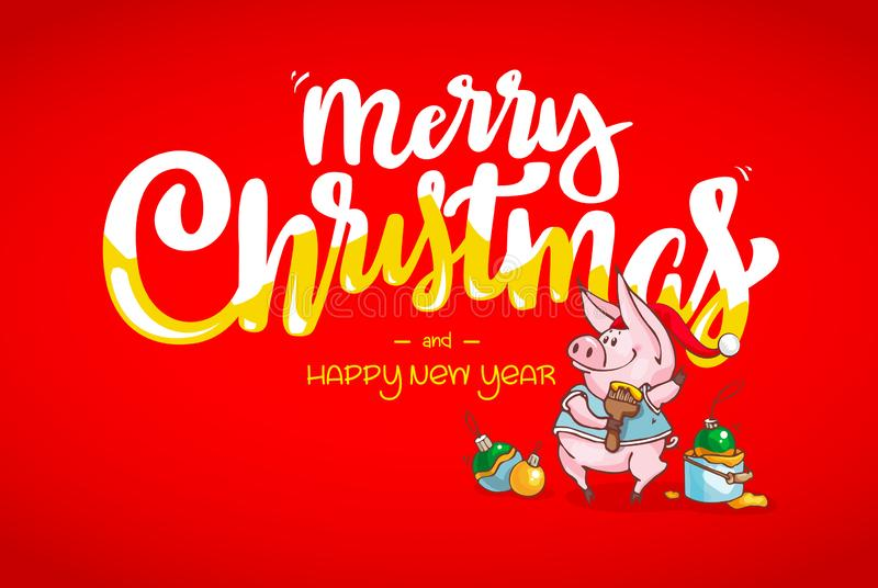 Szczęśliwego nowego roku i Wesoło bożych narodzeń kartka z pozdrowieniami dekoracje świąteczne ekologicznego drewna Wektorowa San royalty ilustracja