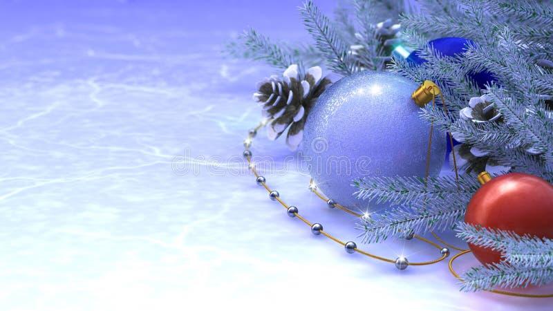 Szczęśliwego Nowego Roku i Wesoło Bożych Narodzeń tło ilustracji