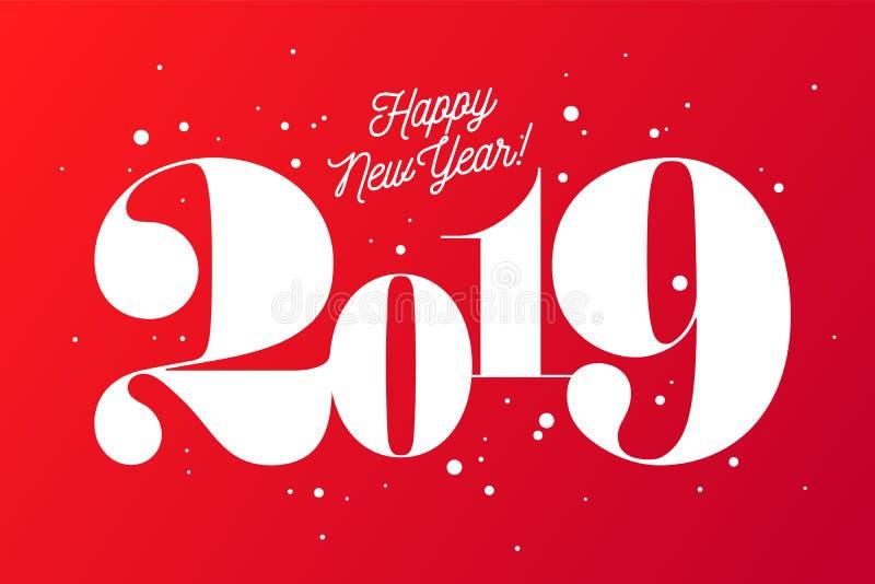 2019 szczęśliwego nowego roku, Kartka z pozdrowieniami z inskrypcją royalty ilustracja