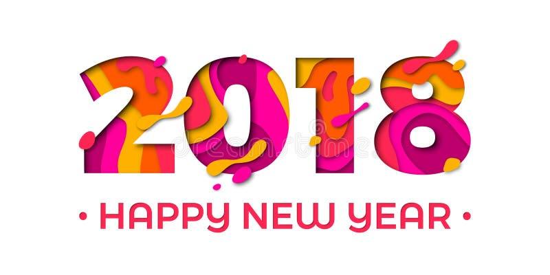 2018 Szczęśliwego nowego roku kartka z pozdrowieniami tła wektoru papieru teksta czerwonych pomarańczowych cyzelowań royalty ilustracja