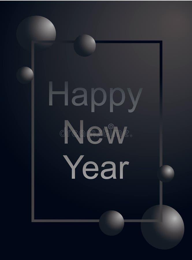 Szczęśliwego nowego roku kartki z pozdrowieniami srebra luksusowy tekst i szarości piłka w gradient ramie na matte czarnym tle pi ilustracja wektor