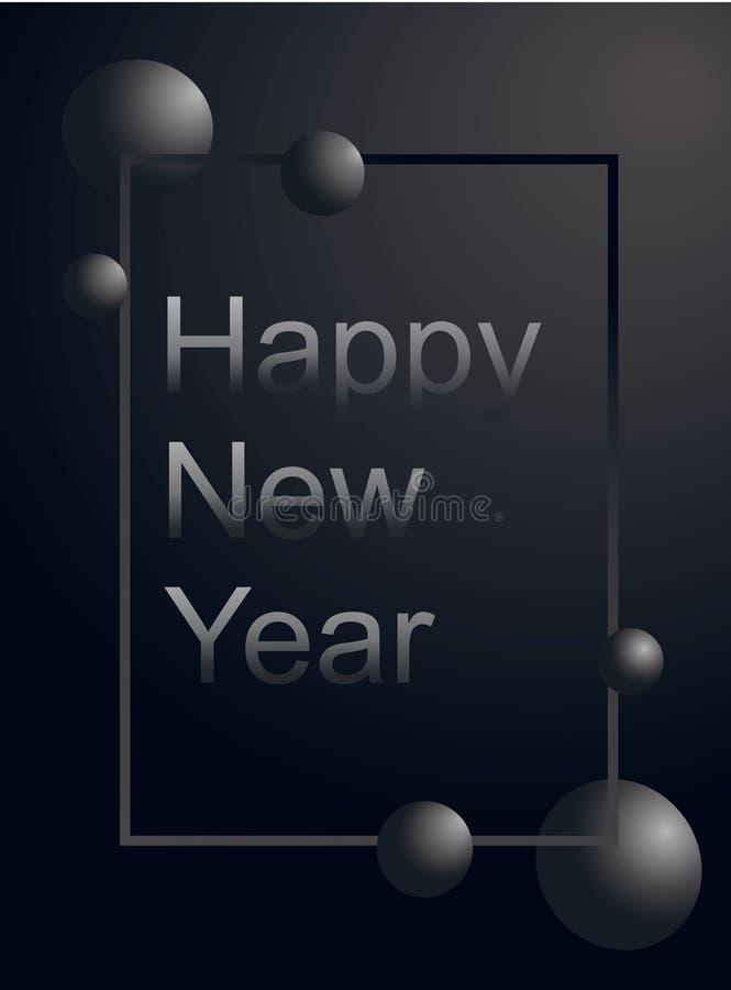 Szczęśliwego nowego roku kartki z pozdrowieniami srebra luksusowy tekst w lewicie wyrównuje pionowo i szara piłka w gradient rami ilustracji