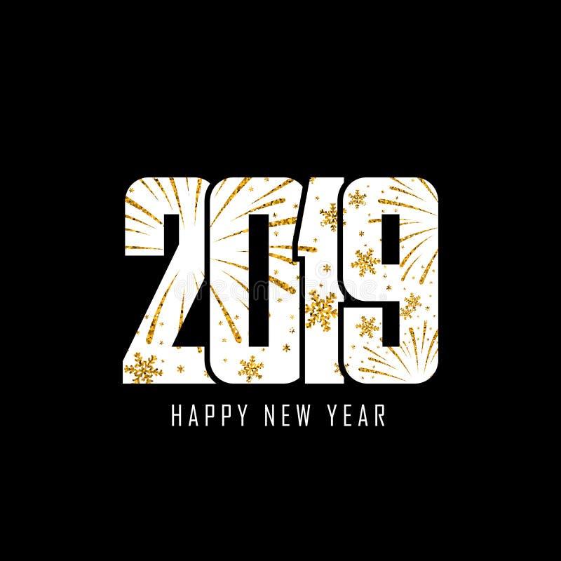 szczęśliwego nowego roku karty Biel liczba 2019 z złocistymi płatek śniegu, odosobniony czarny tło złoty fajerwerk jaskrawy proje royalty ilustracja