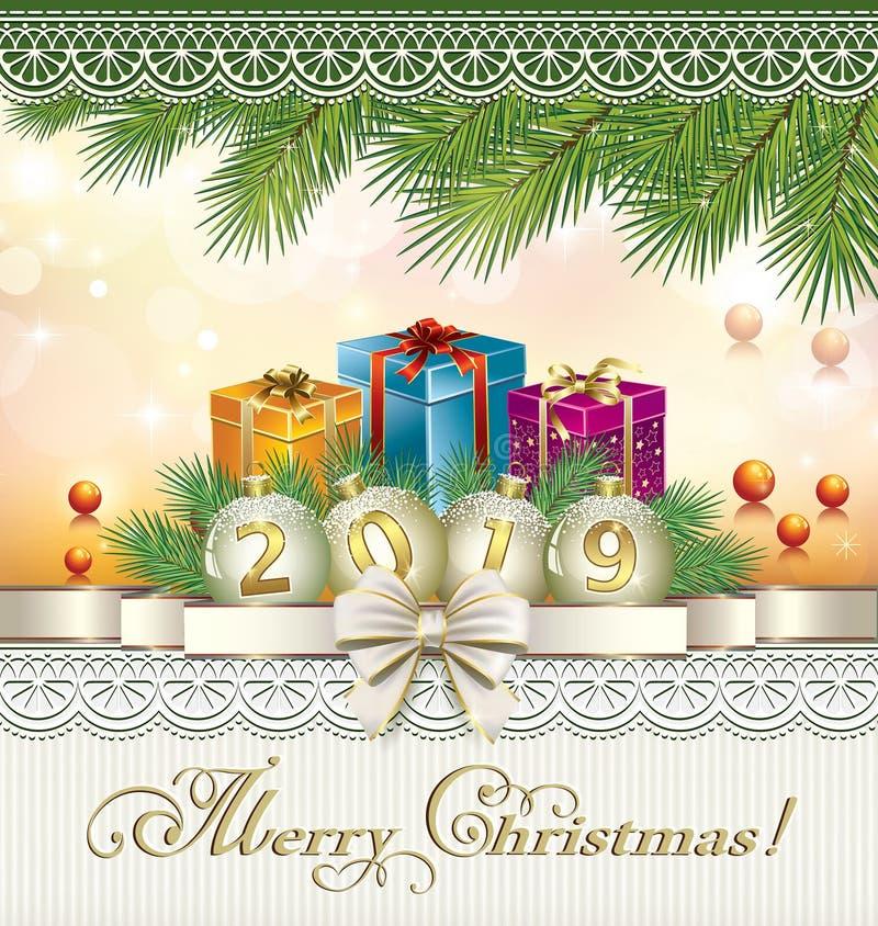 szczęśliwego nowego roku karty Prezenta pudełko 3D, tasiemkowy łęk, złota liczba 2019 na piłkach ilustracja wektor