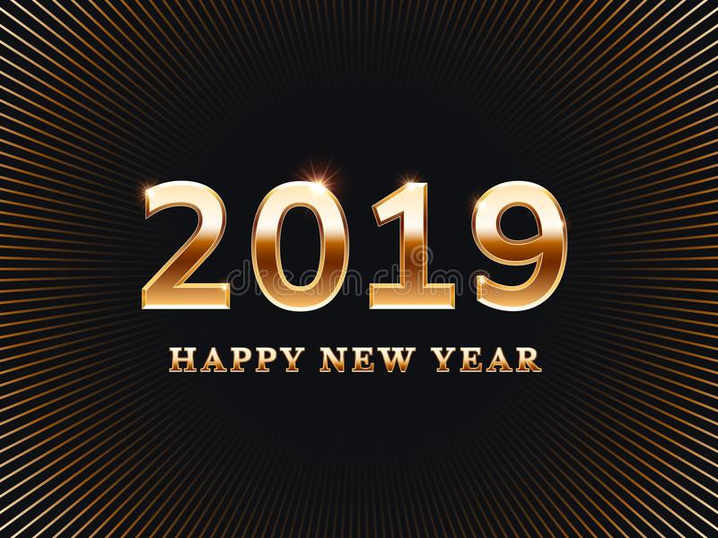 szczęśliwego nowego roku karty Przyjaciel niespodzianki przyjęcia zaproszenia złote karty z złocistą teksta wektoru ilustracją ilustracji
