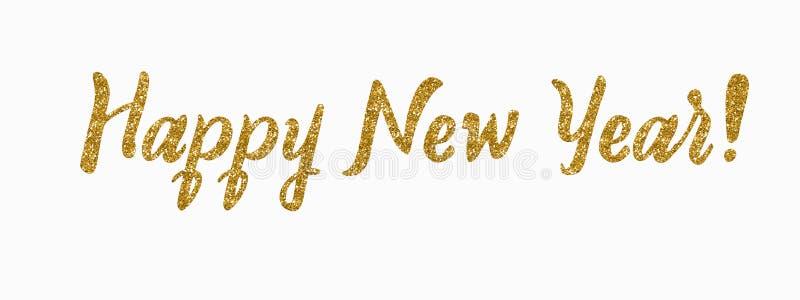 szczęśliwego nowego roku karty Ręka rysująca błyskotliwości nowożytna kaligrafia Atrament ilustracja wesołych świąt Sztandar z rę zdjęcia royalty free