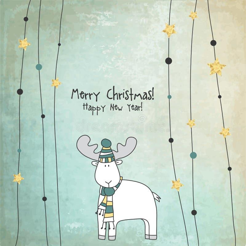 szczęśliwego nowego roku karty więcej toreb, Świąt oszronieją Klaus Santa niebo ilustracja wektor