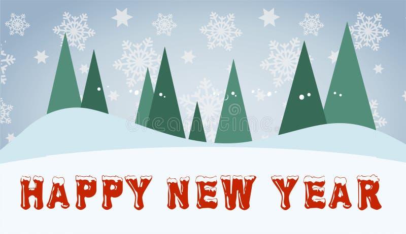 Szczęśliwego nowego roku kreatywnie pocztówka z czerwonym śnieżnym tekstem ilustracji